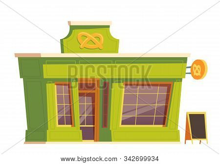 Fast Food Restaurant Or Bakery Building Cartoon Vector Illustration. Facade Of Food Shop And Cafe Or