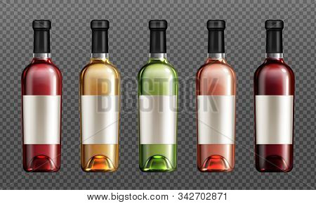 Wine Glass Bottles With Red, Green, Golden And Rose Liquid Realistic Vector Illustration. Clear Wine