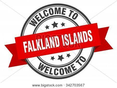 Falkland Islands Stamp. Welcome To Falkland Islands Red Sign