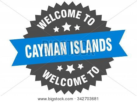 Cayman Islands Sign. Welcome To Cayman Islands Blue Sticker