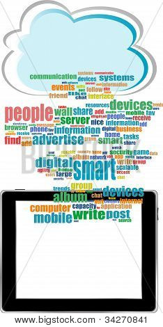 Vector Concept Communicator With Social Network Word Cloud ipad
