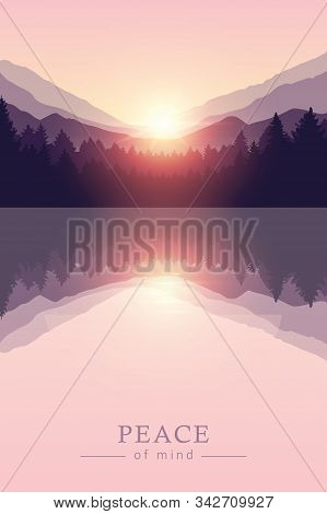 Beautiful Sunrise By Peaceful Lake On Mountain Purple Nature Landscape Vector Illustration Eps10