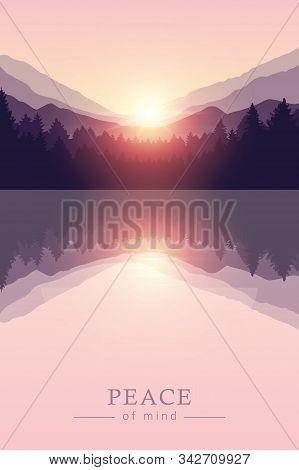 Beautiful Sunrise By Peaceful Lake On Mountain Purple Nature Landscape Vector Illustration Eps10