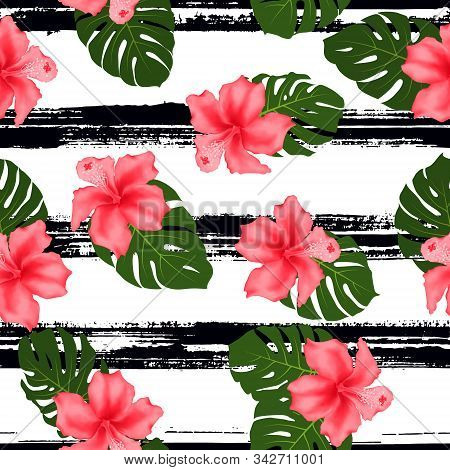 Red Hibiscus Flowers Monstera Leaves Tropical Seamless Pattern. Exotic Floral Wallpaper. Pink Hibisc