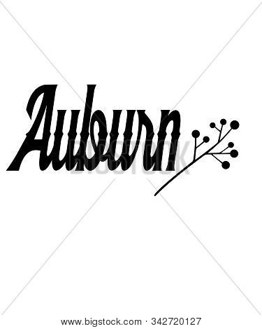 Auburn Graphic Word With Embellishment Black Text And White Background.  Auburn Is A City Or Town In