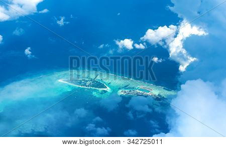 Beautiful Drone Shot Of Maldive Island With Clouds And Blue Turquoise Color Sea Aerial View Of Best