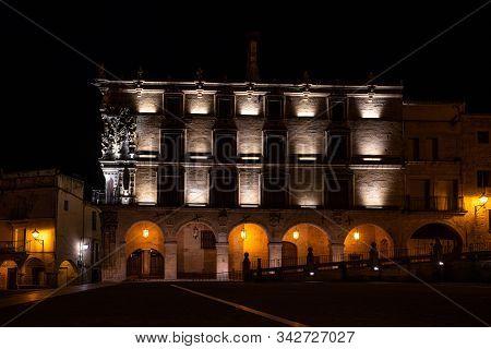 Trujillo, Spain - November 12, 2019: Palace Of Conquest At Night, Palacio De La Conquista At Trujill