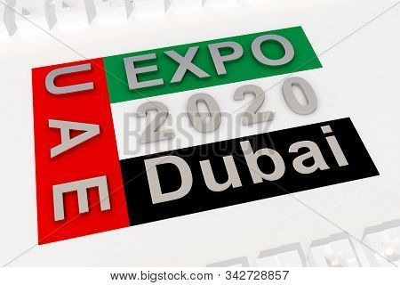 Flag With Text Expo 2020 Uae Dubai. 3d Rendering