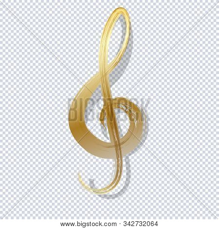 Gold Treble Clef. Luxury Shiny Little Random Stellar Falling On Transparent Background. Gold Treble