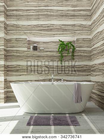 Modern Bathroom With Bathtub, Luxury Apartment. 3d Rendering
