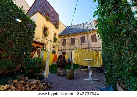 Meissen, Germany - October 12, 2019: Patio Of The Small Hotel Schlossberg In The Old Town.
