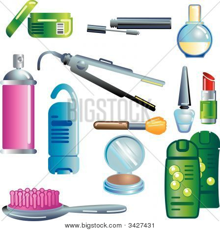 Set of beauty and cosmetics products illustration poster
