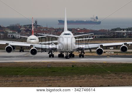Istanbul / Turkey - March 27, 2019: Kalitta Air Boeing 747-400 N701ck Cargo Plane Departure At Istan