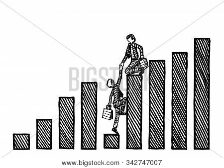 Drawing Of Manager Atop Peak Bar Of Financial Growth Chart Giving A Helping Hand To Executive At Low