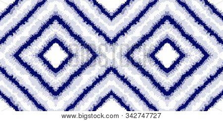 Blue Striped Vector Seamless Pattern. Indigo Watercolor Carpet Japanese Design. Cobalt Batik Trendy
