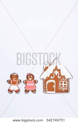 The Hand-made Eatable Gingerbread House, Little Men On White Background