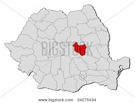 Map Of Romania, Covasna Highlighted