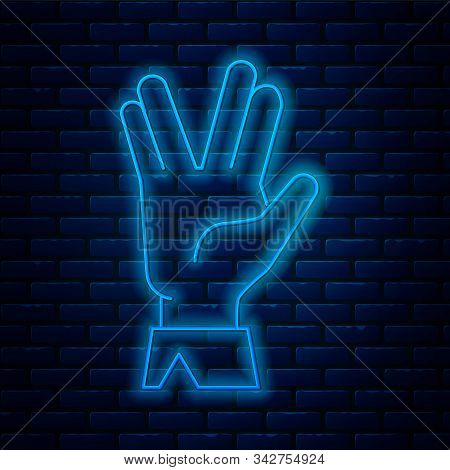 Glowing Neon Line Vulcan Salute Icon Isolated On Brick Wall Background. Hand With Vulcan Greet. Spoc