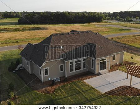 New Home Construction From Above. Aerial View Of Suburban House. American Neighborhood, Suburb. Summ