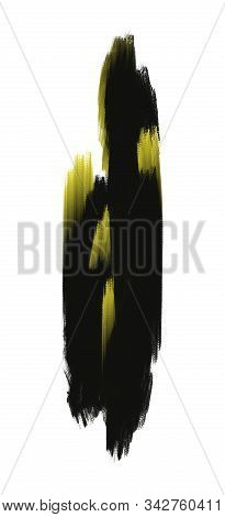 Artistic Dynamic Painting In Yellow And Black Tones. Vivid Paint Brushstrokes Isolated On White Back