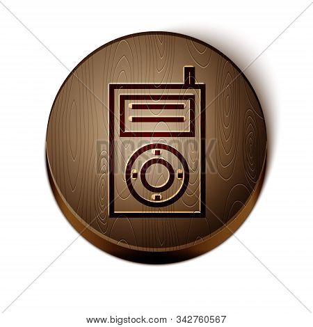 Brown Line Music Mp3 Player Icon Isolated On White Background. Portable Music Device. Wooden Circle