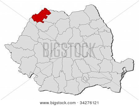 Map Of Romania, Satu Mare Highlighted