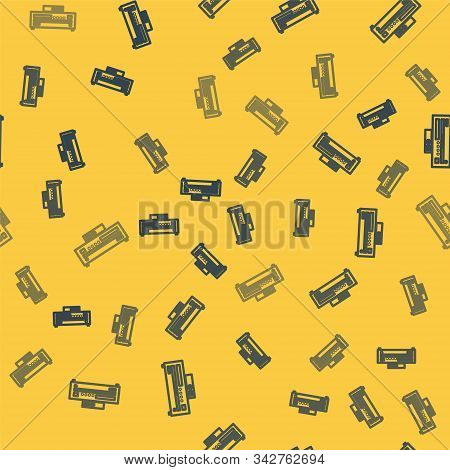 Blue Line Music Cd Player Icon Isolated Seamless Pattern On Yellow Background. Portable Music Device