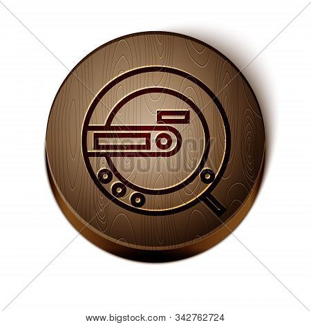 Brown Line Music Cd Player Icon Isolated On White Background. Portable Music Device. Wooden Circle B