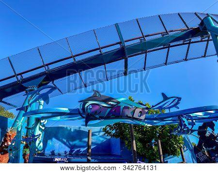Orlando,fl/usa-12/25/19: The Entrance To The Mako Roller Coaster At Seaworld Orlando Florida With A