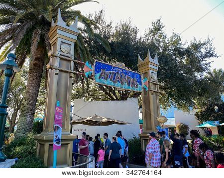 Orlando,fl/usa-12/25/19: People Waiting In Line To Get On The Journey To Atlantis Roller Coaster Wat