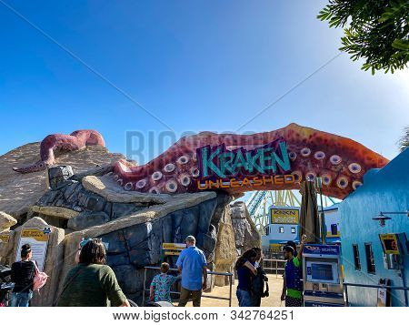 Orlando,fl/usa-12/25/19: The Entrance To The Kraken Unleashed Roller Coaster At Seaworld On A Bright