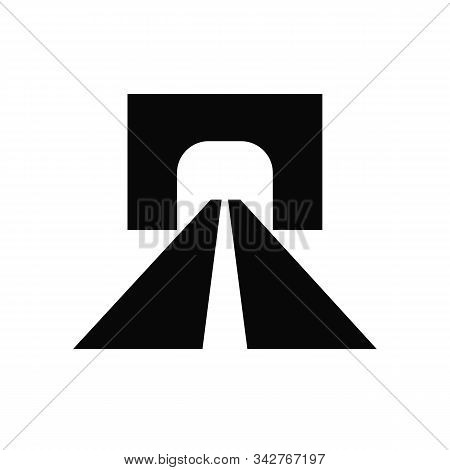 Dark Gray Road Tunnel Abstract Icon With Speedy Highway Leading To Underpass Entrance, Isolated On W