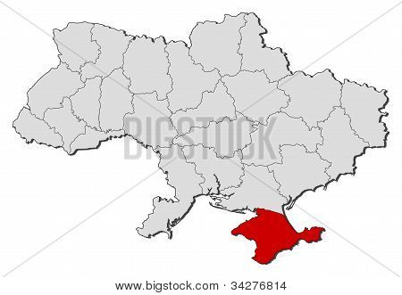 Political map of Ukraine with the several oblasts where Crimea is highlighted. poster