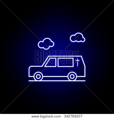 Hearse, Death, Car Outline Blue Neon Icon. Detailed Set Of Death Illustrations Icons. Can Be Used Fo