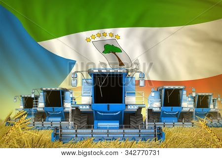 A Lot Of Blue Farming Combine Harvesters On Farm Field With Equatorial Guinea Flag Background - Fron