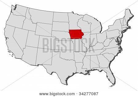 Karta över USA, Iowa belyst