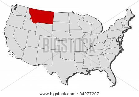 Map Of The United States, Montana Highlighted