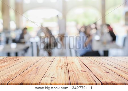 Wooden Table Top With View On Defocused Customer At Restaurant Blurred Background Restaurant Backgro