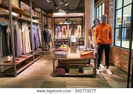 BERLIN, GERMANY - CIRCA SEPTEMBER, 2019: interior shot of Jack & Jones store in Berlin.