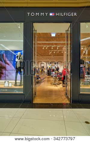 BERLIN, GERMANY - CIRCA SEPTEMBER, 2019: entrance to Tommy Hilfiger store in Mall of Berlin.