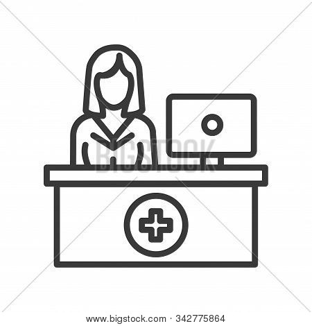 Pharmacy Counter With Pharmacist Line Black Icon. Nursing Service Concept. Hospital Sign. Pictogram