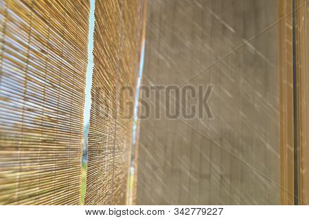 Selective Focus Pattern Of Bamboo Blinds Curtain Texture Background With Sunlight Shadow On Cement W