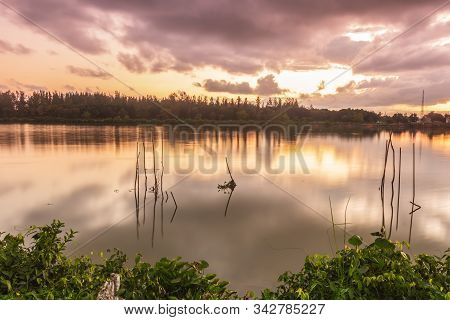 Sunrise And Canal In Countryside. Beautiful And Color Ful Natural In Pak Phanang
