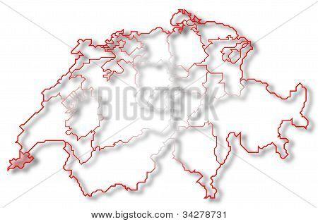 Map Of Swizerland, Geneva Highlighted