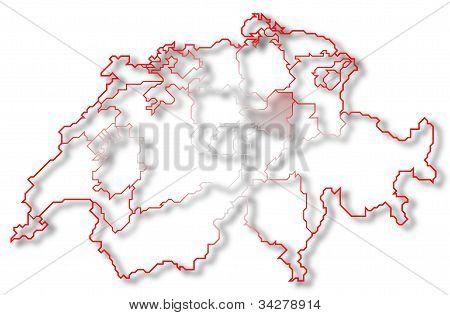 Map Of Swizerland, Schwyz Highlighted