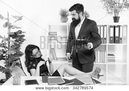 Hire Replacements For Vocational Staff. Temporary Employee. Businessman And Female Employee. Sexy Ad