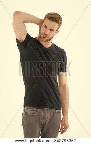 Sweating Problem. Effective Antiperspirant. Man Confident In His Antiperspirant. Guy Checks Dry Armp