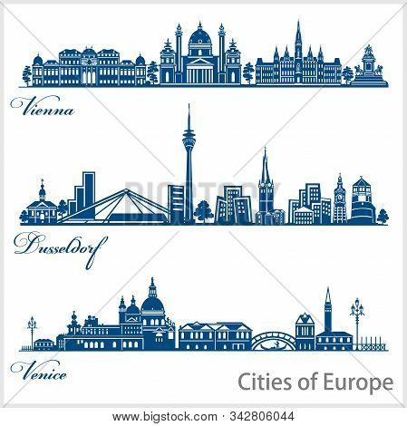 City In Europe - Vienna, Dusseldorf, Venice. Detailed Architecture. Trendy Vector Illustration.