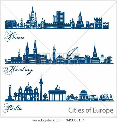 City In Europe - Bonn, Hamburg, Berlin. Detailed Architecture. Trendy Vector Illustration.