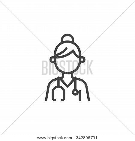 Nurse Doctor With Medical Stethoscope Line Icon. Linear Style Sign For Mobile Concept And Web Design